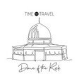 one continuous line drawing dome rock vector image