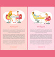pedicure and manicure service posters set vector image vector image