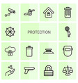 protection icons vector image vector image