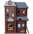 ruined house with broken windows and door vector image vector image