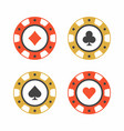 set of casino chips top view vector image vector image