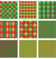 Set of Christmas and New Year plaid seamless vector image