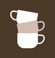 stacked of three ceramic mugs flat icon vector image vector image