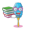 student with book feather duster character cartoon vector image vector image