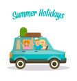summer holidays square banner happy family by car vector image vector image