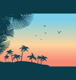 summer tropical palm trees landscape nature vector image