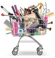 supermarket cart with professional cosmetics vector image