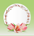 template with bouquet of tulips and willow twigs vector image vector image