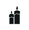 Two candles simple black icon on white background vector image vector image