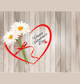 valentines day background two daisies with heart vector image vector image