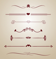 vintage borders frames dividers heart floral card vector image vector image