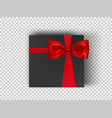 white squares cardboard box with red ribbon and vector image vector image