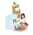 young woman is laundering at home housework vector image vector image