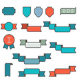 Set of ribbons in flat line style vector image