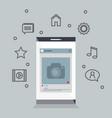 smartphone with menu settings vector image