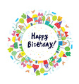 Happy birthday funny card for kids with town vector image