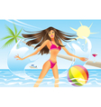 Beautiful woman going out of the sea vector image