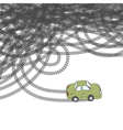car and tire tracks vector image