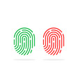 approved and rejected fingerprint icons vector image