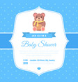 baby shower invitation template on blue polka dot