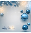 Blue Christmas background with fir twigs and balls vector image