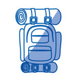blue shading silhouette of camping backpack vector image