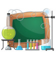 board template with chemical in beakers vector image vector image