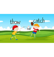 Boys throwing and catching ball in the field vector image