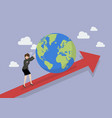 business woman pushing the world on graph up vector image vector image