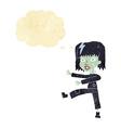cartoon zombie girl with speech bubble vector image
