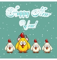 Christmas Card With Funny Chicks vector image vector image