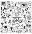 cinema doodles set vector image