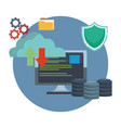 cloud computing and database icons vector image vector image