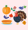 colorful cartoon icons for thanksgiving day vector image vector image