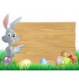easter bunny eggs and sign vector image vector image