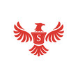 elegant phoenix with letter s logo vector image vector image