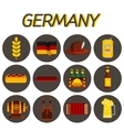 Germany flat icon set vector image