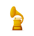 golden gramophone award trumpet and needle vector image vector image