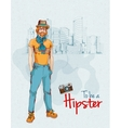 Hipster boy city vector image vector image