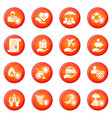 insurance icons set red vector image vector image