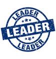 leader blue round grunge stamp vector image vector image