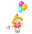 Little fairy in red dress with baloons vector image vector image