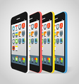 Modern smartphone different colors vector image vector image