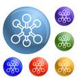 molecule icons set vector image