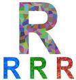 Mosaic font design - letter R vector image vector image