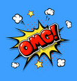 omg comic bubble cartoon text in pop art bang vector image vector image