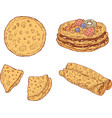 pancakes set collection of doodle cartoon vector image vector image