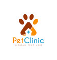 pet medical clinic health design logo vector image