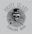 pirate island vintage font poster vector image