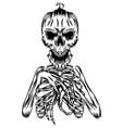 pumpkins head with full body skull vector image
